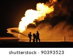 firefighters in action after a... | Shutterstock . vector #90393523