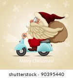 motorized santa claus delivery... | Shutterstock .eps vector #90395440