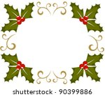 Holly berry Christmas frame. Vector illustration - stock vector