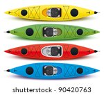 illustration of colored kayaks | Shutterstock .eps vector #90420763