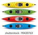 illustration of colored kayaks | Shutterstock .eps vector #90420763