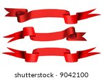 red ribbon set of 3 with bank... | Shutterstock . vector #9042100