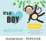 Cute Baby Boy Shower. Vector...