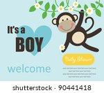 Cute Baby Boy Shower. Vector...