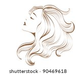 woman face with long hair | Shutterstock .eps vector #90469618