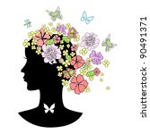 abstract female profile with...   Shutterstock .eps vector #90491371
