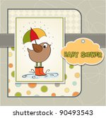 baby shower card with little... | Shutterstock .eps vector #90493543