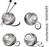 Stock vector set of yarn balls with needles isolated on white background vector illustration 90494059