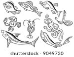 set of seafood in abstract... | Shutterstock .eps vector #9049720