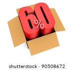 one open carton box with the 60 percent rate number that comes out (3d render) - stock photo