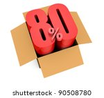 one open carton box with the 80 percent rate number that comes out (3d render) - stock photo