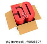 one open carton box with the 50 percent rate number that comes out (3d render) - stock photo