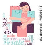 shopping sale woman | Shutterstock .eps vector #90509845