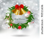 christmas garland with bells | Shutterstock .eps vector #90511636