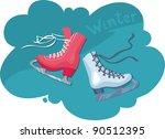 2 figure skates   male and... | Shutterstock .eps vector #90512395