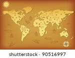 ancient map of the world with... | Shutterstock .eps vector #90516997
