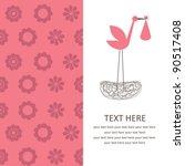 baby girl announcement card.... | Shutterstock .eps vector #90517408
