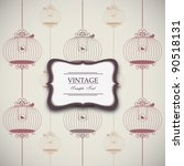 Vintage Design With Birdcages ...