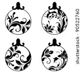 black and white xmas balls | Shutterstock .eps vector #90522760