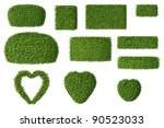 set of boxwood trees isolated... | Shutterstock . vector #90523033