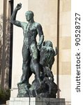 Sculpture of (Hercules) Heracles at Trocadero (Palais de Chaillot) in Paris - stock photo