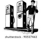 gas station attendant 2   retro ... | Shutterstock .eps vector #90537463