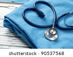 a stethoscope shaping a heart... | Shutterstock . vector #90537568