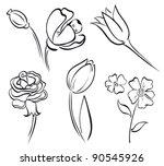 flower art line | Shutterstock .eps vector #90545926