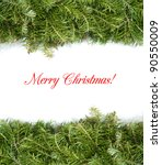 christmas border with green pine | Shutterstock . vector #90550009