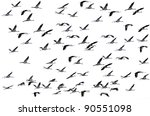 cranes flying on the white... | Shutterstock . vector #90551098