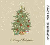 hand drawn christmas tree | Shutterstock .eps vector #90556990