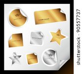 set of various silver and gold... | Shutterstock .eps vector #90557737