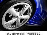 Blue Sport Car Wheel in the dark - stock photo
