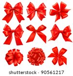 big set of red gift bows with... | Shutterstock .eps vector #90561217