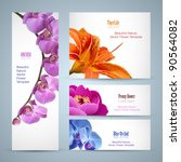 Stock vector flower brochure design vector layout template background for beauty business with oriental garden 90564082