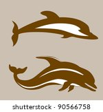 two dolphins on brown background, vector illustration - stock vector