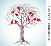 Winter Tree With Birds Vector...