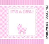 baby girl vector arrival card... | Shutterstock .eps vector #90567703