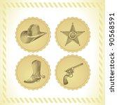 vector cowboy icon set   in... | Shutterstock .eps vector #90568591