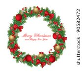 christmas wreath decorated with ... | Shutterstock .eps vector #90582472