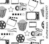 doodle movie seamless pattern - stock vector