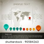 world map with set of gps... | Shutterstock . vector #90584263