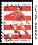 Small photo of SAHARA OCC RASD - CIRCA 1993: A stamp printed in Sahara OCC. R.A.S.D shows football, circa 1993