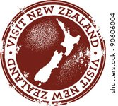 visit new zealand stamp | Shutterstock .eps vector #90606004