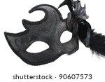 Black carnival mask isolated on white background. - stock photo