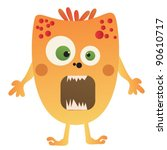 cute cartoon monster isolated.... | Shutterstock .eps vector #90610717