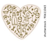 love to gardening   tools heart | Shutterstock .eps vector #90611065