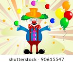 cartoon clown with balls and... | Shutterstock .eps vector #90615547