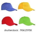 Four Caps Isolated On White....