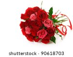 Stock photo bouquet of red roses with ribbon on white isolated background 90618703